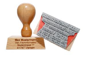 Holzstempel: 80 x 80 mm - max. 17 Zeilen